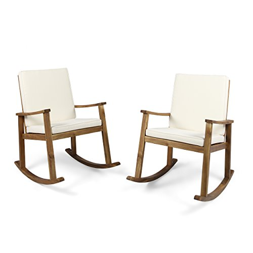 (Great Deal Furniture | David | Outdoor Acacia Wood Rocking Chair with Cushion | Set of 2 | Teak/Cream)