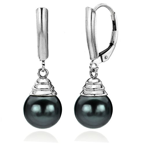 14k White Gold 9-9.5mm Round Black Tahitian Cultured AAA Pearl Lever-back Earrings