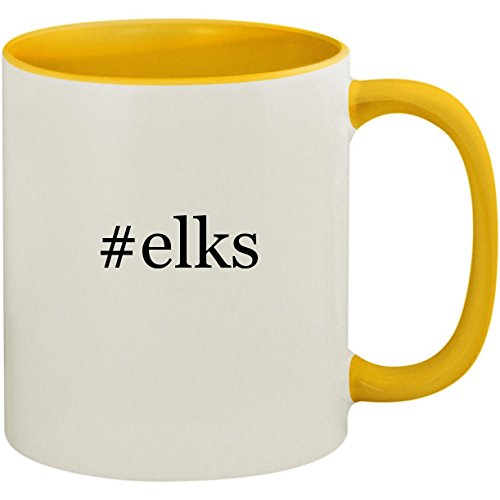 #elks - 11oz Ceramic Colored Inside and Handle Coffee Mug Cup, Yellow