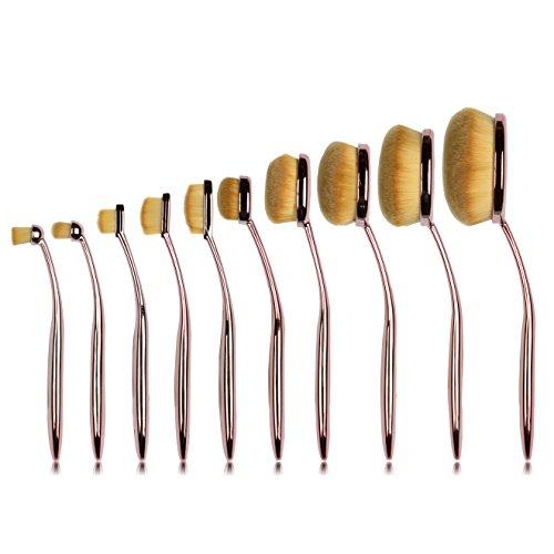 Ammiy 10 PC/Set Toothbrush Style Makeup Brush Set Professional Fiber Brush Hair plastic Handle Foundation Blending Blush Concealer Eye Face Liquid Powder Cream Cosmetics Lip Brush Tool Brushes Kit