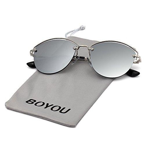 dc5e62aa93 on sale BOYOU Gafas de sol retro estilo aviador retro estilo completo con  protección UV400