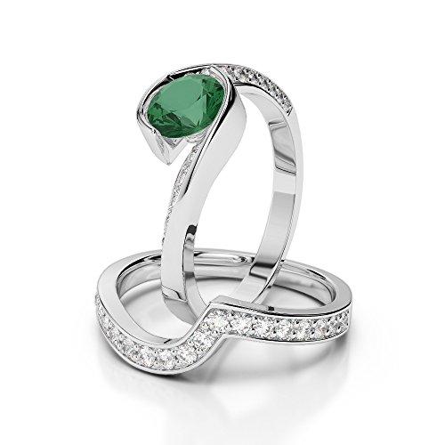 G-H/VS 1CT Coupe ronde sertie de diamants Émeraude et diamants blancs et bague de fiançailles en platine 950Agdr-2019