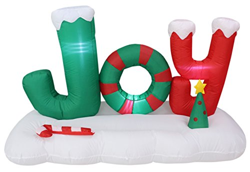 5 Foot Long Lighted Christmas Inflatable JOY to the World with Tree Candy Cane Merry Messages Party Indoor Outdoor Decoration (Christmas Jumper Decorations)