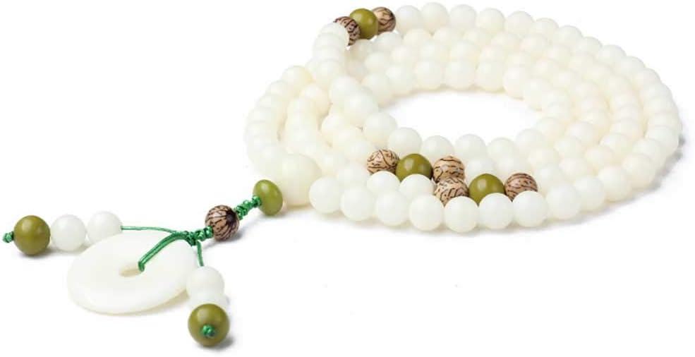 HJkkls 108 Mala Pulsera De Cuentas Jade Blanco Bodhi Yoga Meditación Colgante Budista Tibetano Oración Yoga Meditación Damas Collar