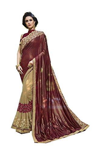 Da Facioun Indian Sarees For Women Wedding Designer Party Wear Traditional Brown & Cream Saree. by Da Facioun