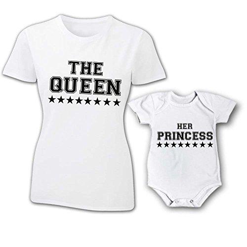 Coppia Prince The E Queen Her T Princess shirt Festa Bianche Donna Femminuccia Mamma Bodino Della Bambino 7q7zxvrE