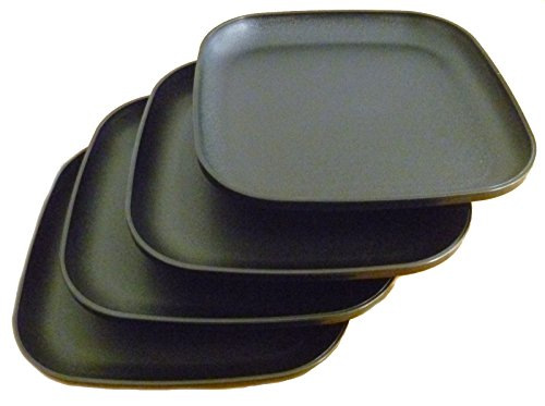 Tupperware Square 8 Inch Luncheon Plates Black Set of 4