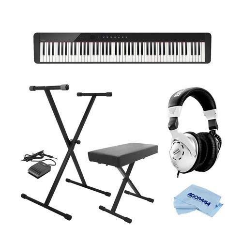 Casio PX-S1000 Privia 88-Key Slim Digital Console Piano with 18 Tones, Black - Bundle With On-Stage KPK6520 Keyboard Stand/Bench Pack with Sustain Pedal, Behringer HPS3000 HP Studio Headphones, Cloth by Casio