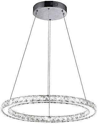 Modern Chandelier Crystal LED Ceiling-Light One Ring Pendant Light Indoor Decorative Hanging Lamp-Dimmable Light Source 19.7 19.7 in