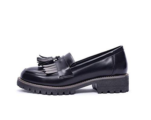 scarpe Bassi Tacchi on Donna tacchi Solid Voguezone009 Nere Tonde Materiali Bassi Pull A1xvq