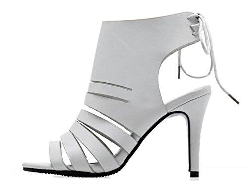 Pelle Donna YCMDM'S Hollow raffinata con i tacchi alti sandali casuali pattini di svago Primavera Estate Autunno , grey , 36