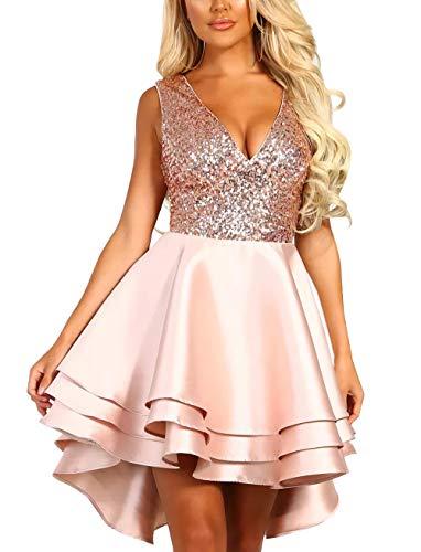 Women Formal Party Dresses - Sleeveless Sequined V Neck Multi Layer Skater Evening Dress Pink