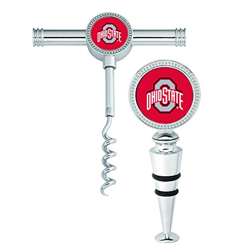 Wine Things Ohio State University Wine Stopper and Corkscrew (Set of 2), - Buckeyes Wine
