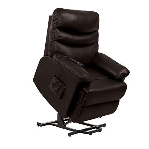 Domesis Wall Hugger Power Recline and Lift Chair in Coffee Brown Renu Leather (Sofa Grain Sale Leather Full)