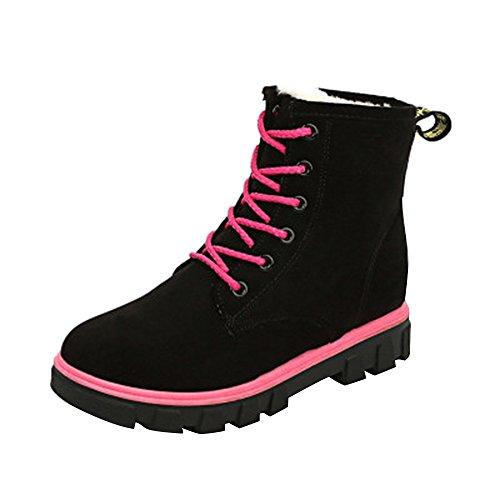 Wenyujh Sport Chaud Lacets Femme Chaussures Bottes Fourrées Noir Flattie Avec Hiver Martin Doublure Boots 01Z0wUr