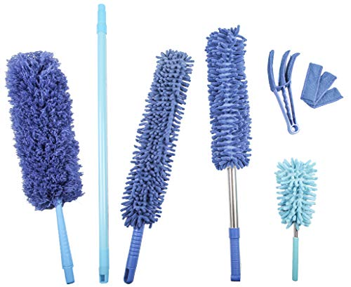 Bluehandle Microfiber Hand Duster Set (6-Pack) for House, Kitchen and Car /2X Flexible Duster with Extension Pole Reach 27-48