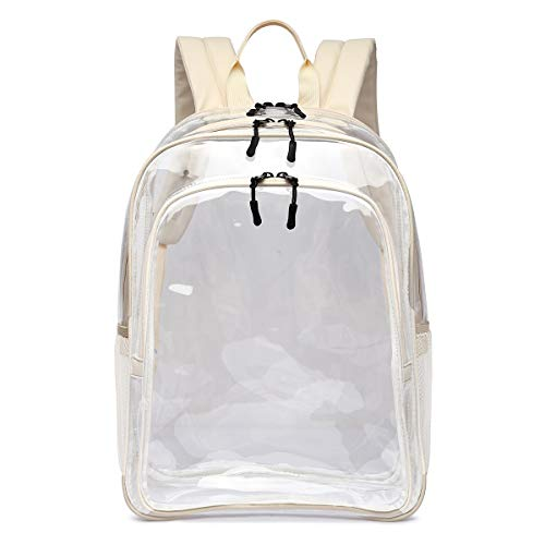 Large Clear School Backpack - Triple Compartment - Leather Adjustable Straps for Comfort - Heavy Duty - Transparent Security Check Approved