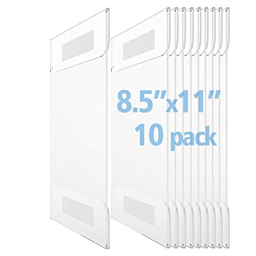 (OfficeMajor Acrylic Sign Holder 8.5x11 - Wall Mount Sign Holder with 3M Tape Adhesive Office Door Sign Plastic Frame Wall Sign Holder Clear Wall Mount Frame (Box of 10))