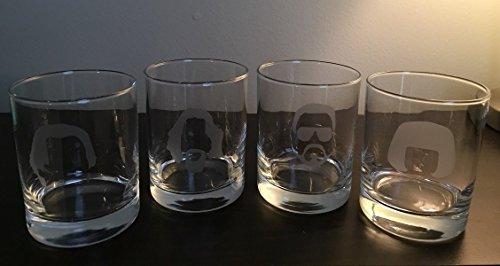 The Big Lebowski Glasses - White Russian Glasses - 4 14 oz Double Rocks Glasses - The Dude - Walter - Donny- Maude - Lebowski - - The Dude Abides - Lebowski Big Glasses