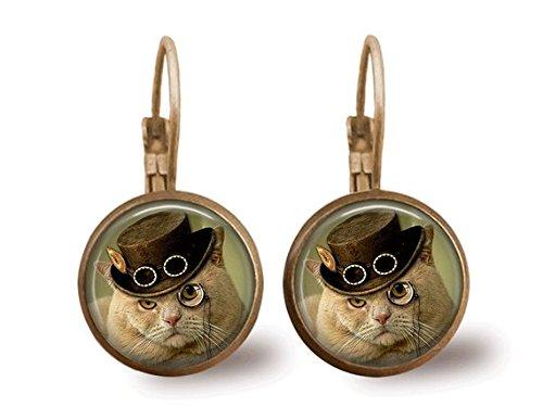 Cat Earrings Steampunk Earrings Steampunk Jewelry 3