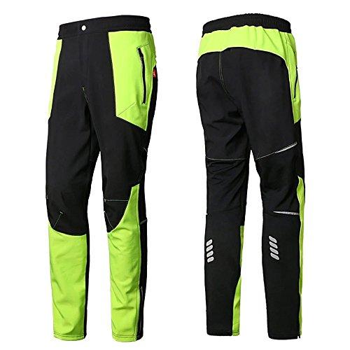 Men's Warm Windproof Mountain Fleece Hiking Snow Ski Pants(Small, Green)