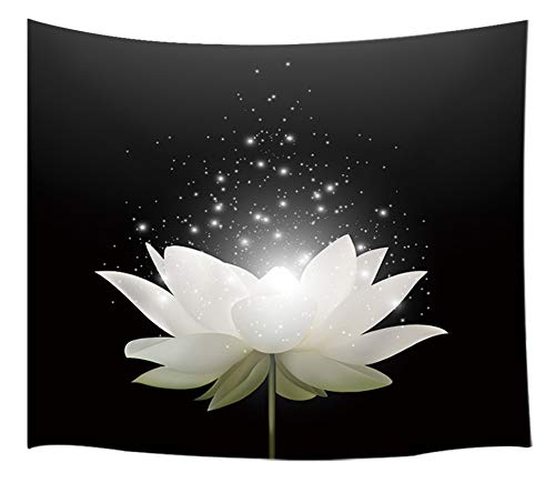 (KOTOM Floral Tapestry Wall Hanging Art, Magic White Lotus Flower on Black Background, Wall Blanket Beach Towels Home Decor Polyester Fabric for Bedroom Living Room Dorm, 80X60 Inches )