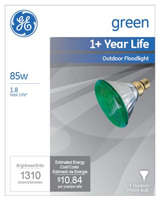 -Watt Miser Outdoor Floodlight Bulb, Green - Quantity 6 ()