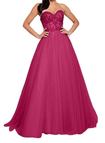 Pink Ballkleider Partykleider Steine Damen Traegerlos Herzausschnitt Lang Abendkleider Promkleider Charmant qxzTvfpgwP
