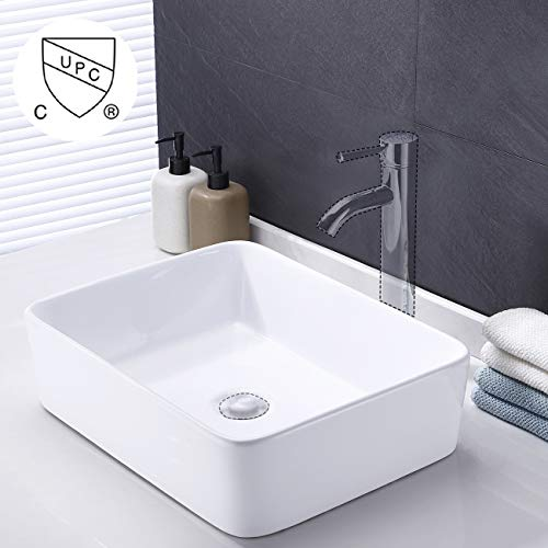KES cUPC Bathroom White Rectangular Vessel Sink Above Counter Countertop Porcelain Bowl Sink for Lavatory Vanity Cabinet Contemporary, BVS110 ()