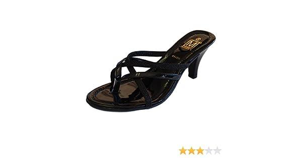 70ec52fdc67ad Maker's Gina-3 Women's Strappy Vegan Leather Glitter Kitten Heel Dress  Sandals