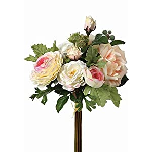 "Artificial Flower Bouquet of Blush Roses and Ranunculus - 12"" Tall 52"