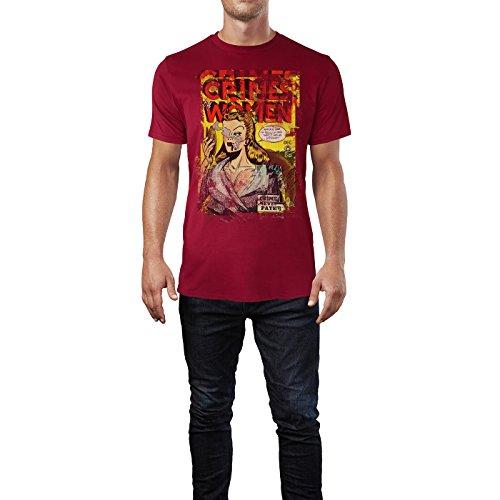 SINUS ART® Crimes and Women Herren T-Shirts stilvolles dunkelrotes Cooles Fun Shirt mit tollen Aufdruck