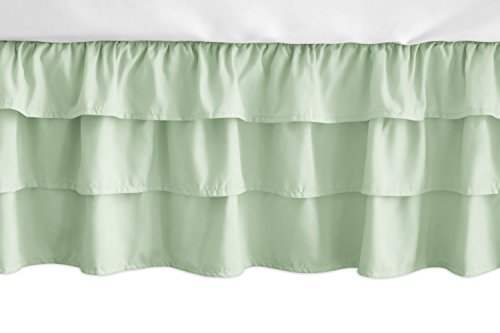 Sweet Jojo Designs Solid Mint Green Girl Ruffled Tiered Baby Crib Bed Skirt Dust Ruffle for Woodsy Collection