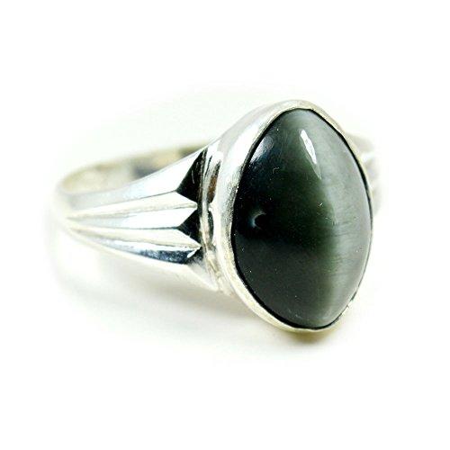 Cat Eye Gemstone Ring (Jewelryonclick 6.5 Carat Natural Gemstone Cats Eye Silver Men Women Ring In Size US 5,6,7,8,9,10,11,12,13)