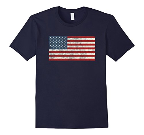 Mens Star Spangled Banner Antique American Flag T-Shirt Old Glory Large Navy