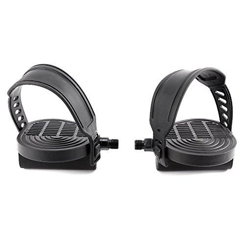 🥇 surepromise Par de 9/16 Pulgadas 1/2 Pulgadas Rosca Pedales de Bicicleta Estática con Correa Ajustable Reemplazo Pedales para Bicicleta de Gimnasio