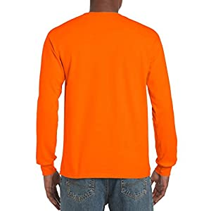 Gildan Men's Ultra Cotton Jersey Long Sleeve Tee, Safety Orange, Medium