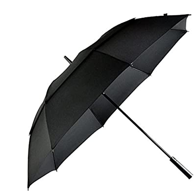 LifeTek Hillcrest 62 Golf Umbrella Automatic Open Extra Large Windproof Double Canopy With Big Wind Release Vents 210T Teflon Rain Repellant Protection Sun, Rain, Sports, Formal Occasions Black