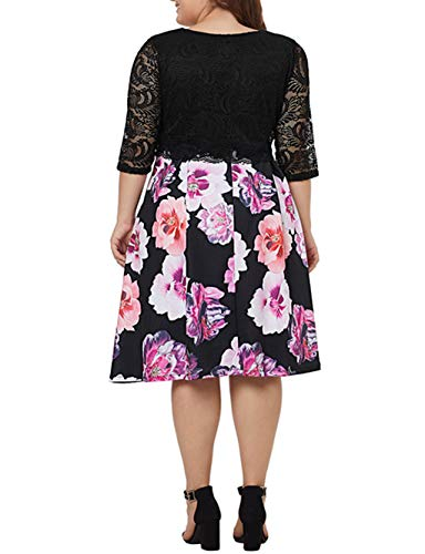 Sleeve Waist Floral Plus Size Empire Queen Women's Alaster Lace Midi Black Lace Dress Cocktail Dress Patchwork Half XPwUzU