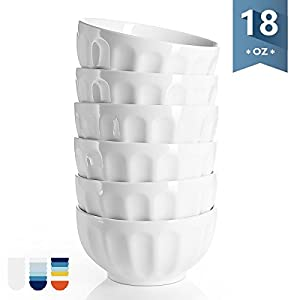 Sweese 1110 Porcelain Fluted Bowls - 18 Ounce for Cereal, Soup and Fruit - Set of 6, White