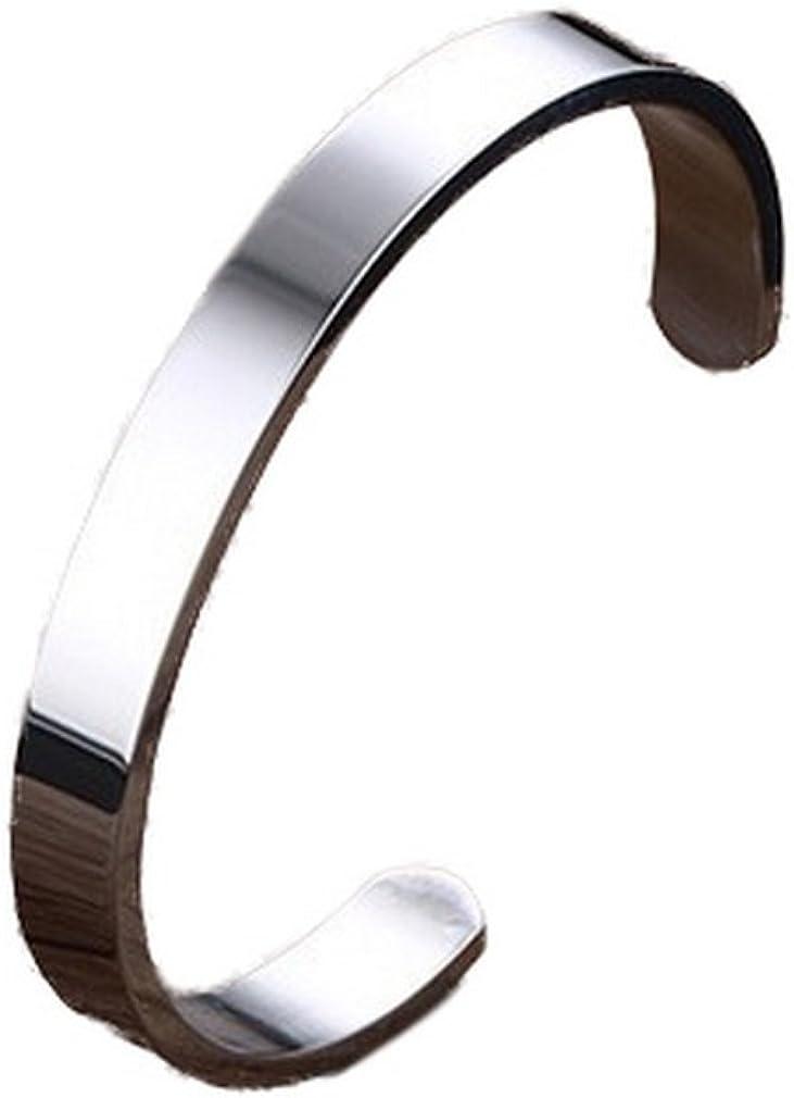 YAZILIND Pulsera de Acero de Titanio Estilo Punky Suave Abrazadera Abierta para Hombres Diámetro 59 mm