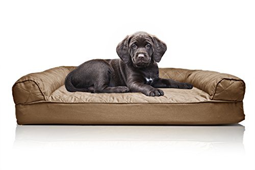 Furhaven Pet Dog Bed | Orthopedic Quilted Sofa-Style Living Room Couch Pet Bed for Dogs & Cats, Toasted Brown, Small