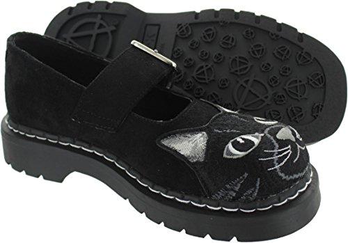 T.U.K. Kitty Embroidery, Damen Schnürhalbschuhe Schwarz Schwarz