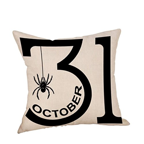Halloween Throw Pillow (Halloween Throw Pillow Covers,Ankola 2017 New 18''X18'' Pumpkin Ghosts Cotton Linen Throw Pillow Case Hidden Zipper Cushion Cover Sofa Home Decor (F))