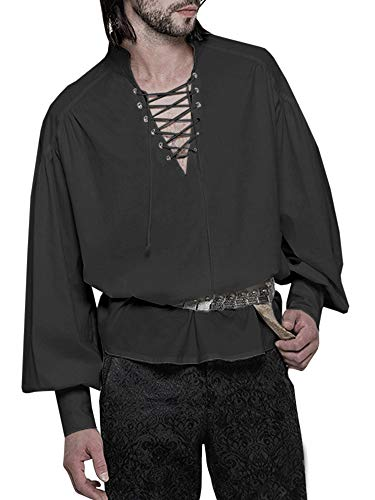 Mens Medieval Pirate Lace Up Shirts Viking Renaissance Costume Scotttish Mercenary Cosplay T Shirts Tops (M, A-Black)