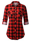 DJT Button Down Blouses for Women, Women's Casual Plaid Turn Down Collar Roll-up Long Sleeve Blouses Tops Shirts Large Red Plaid