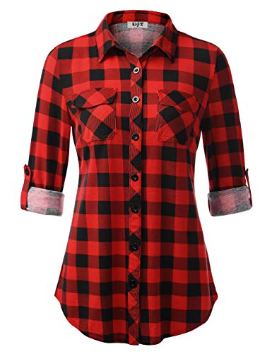 DJT Plaid Shirts for Women, Women's Plaid Button Down Shirts Roll-up Sleeve Blouses Tunics Slim Fit Tops with Pocket Medium Red ()