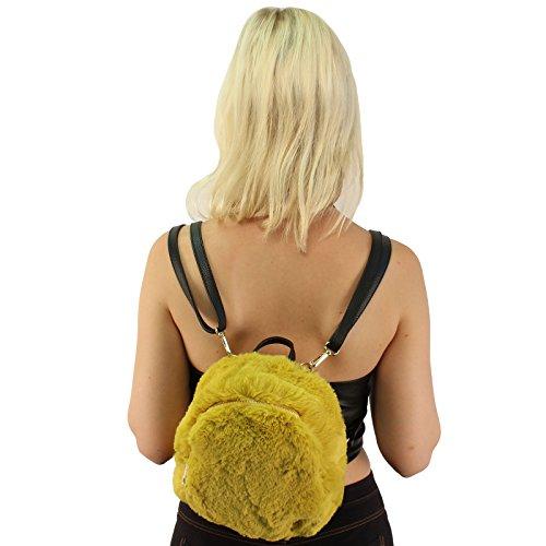 CC Bag Backpack Mustard Daypack Shoulder Faux School Mini Purse Furry Fur Handbag 8qS8wrA