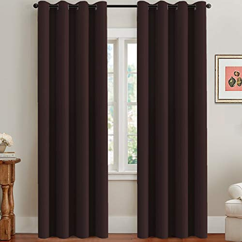 (H.VERSAILTEX Three Pass Microfiber Blackout Thermal Insulated Grommet Panels Window Curtains/Drapes (Set of 2, Chocolate Brown, 52 x 96 Inch) )