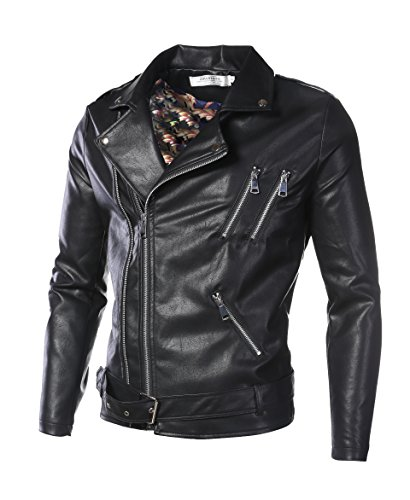 DAVID.ANN Men's Classic Faux-Leather Biker Zipper Jacket Coat,Black,Large